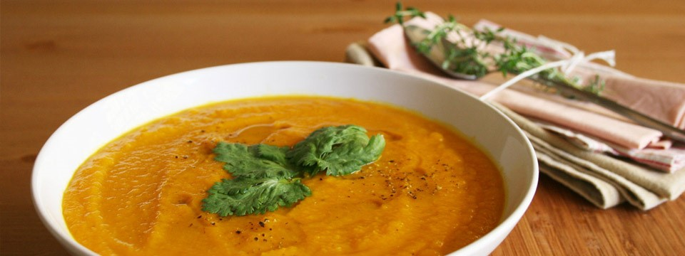 Carrot and Coriander Soup in Bowl