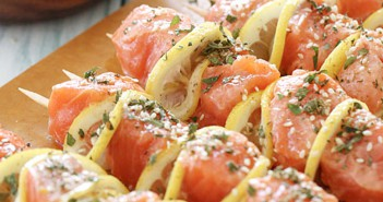 Delicious Salmon Kebabs Served With Lemon