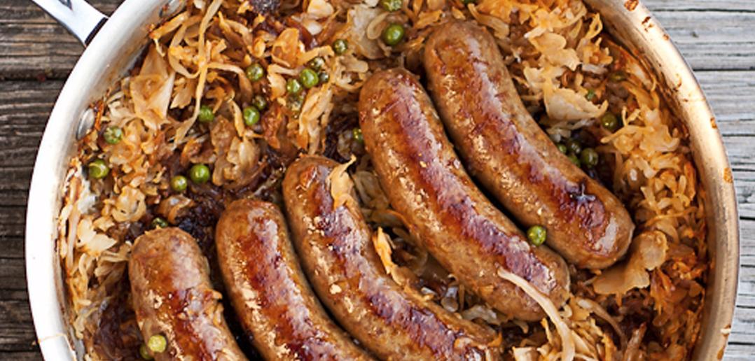 Beer-Braised Bratwurst And Caramelised Sauerkraut