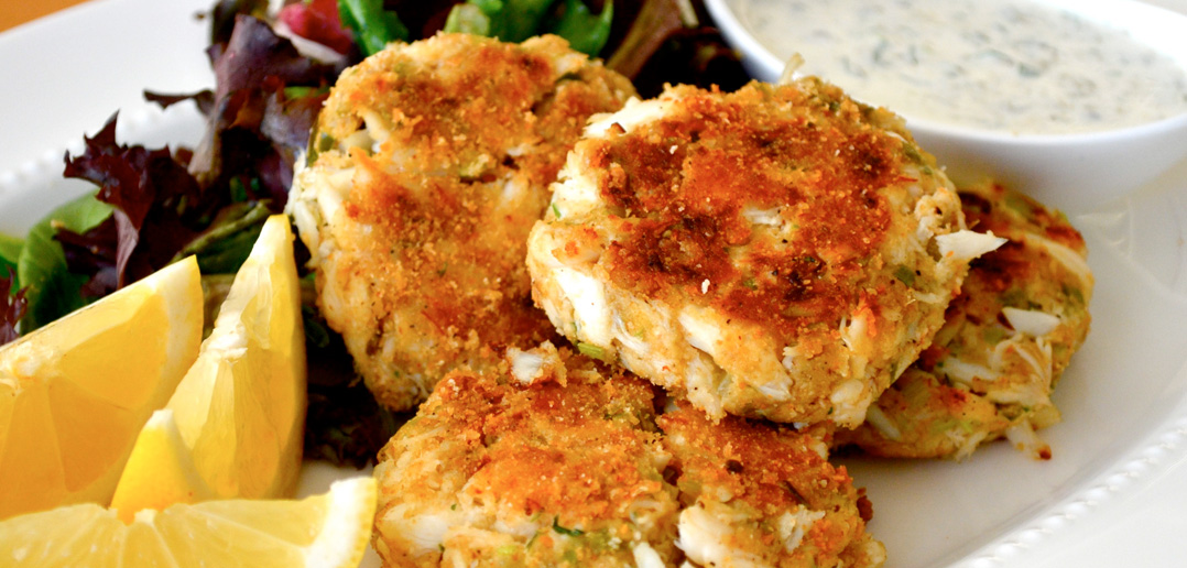 Plate of Ginger and Coriander Crab Cakes