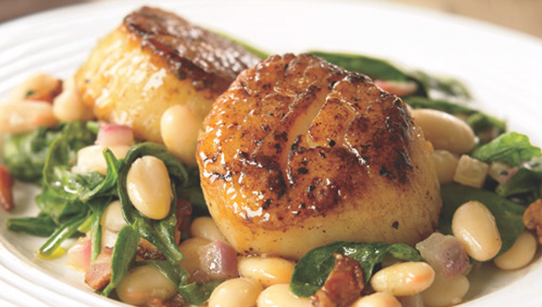 Seared Scallops with Butter Beans and Spinach