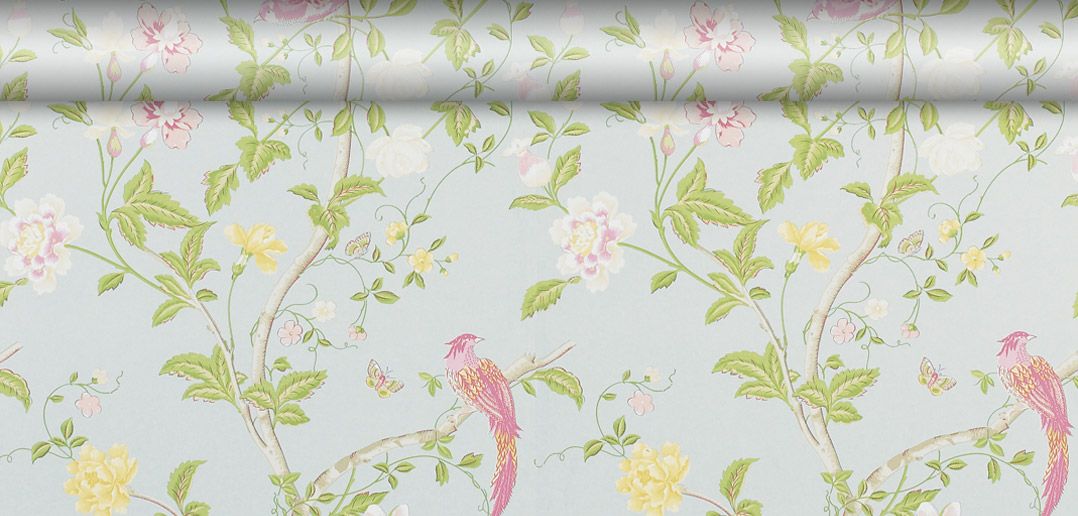 Floral Patterned Wallpaper in Blue