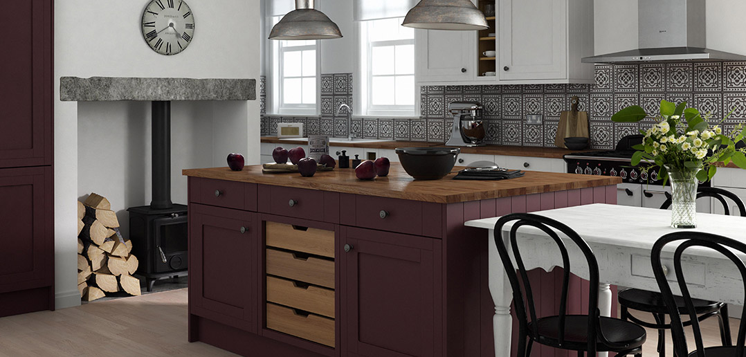 Beautiful Linda Barker Country Kitchen in Aubergine