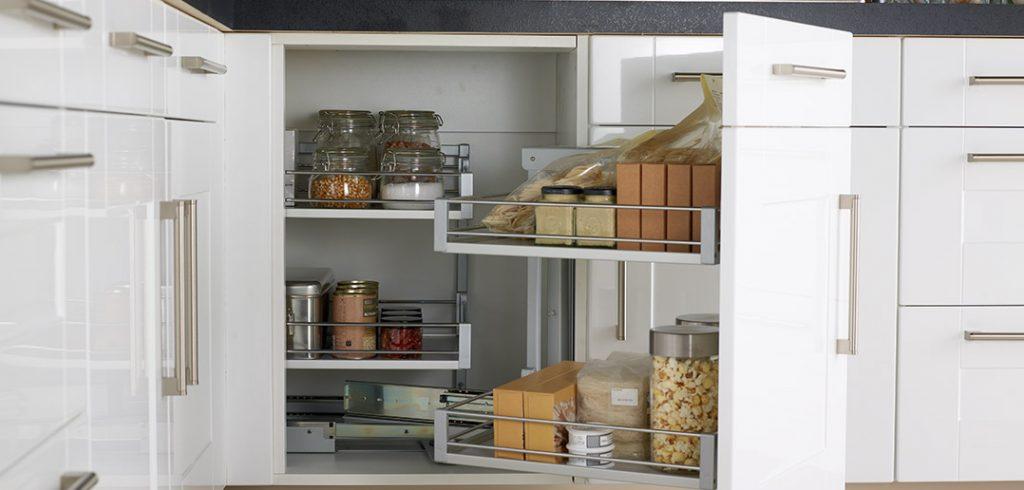 White Kitchen with Corner Storage Solution