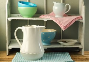 Patterned Tea Towel and Colourful Kitchen Accessories