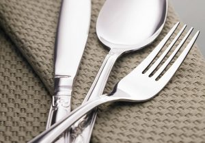 Textured Tea Towel and Silver Cutlery
