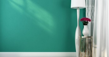 Teal Wall with White Lamp