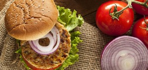 Healthy Vegetarian Burger and Fresh Salad