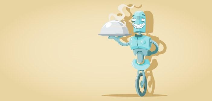 Cartoon Of A Steel Kitchen Servant