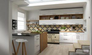 White Wren Kitchen with Patterned Tile Splash Back