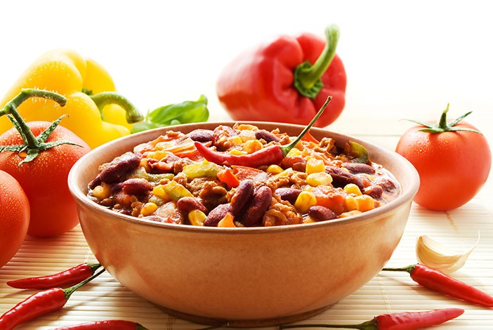 Bowl of Chilli Con Carne with Peppers Tomatoes