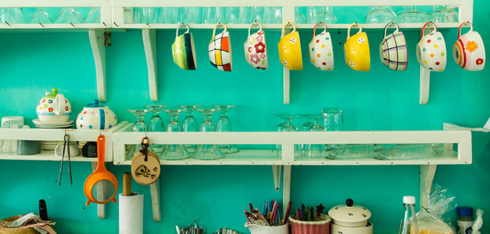 Colourful Kitchen with Hanging Teacups