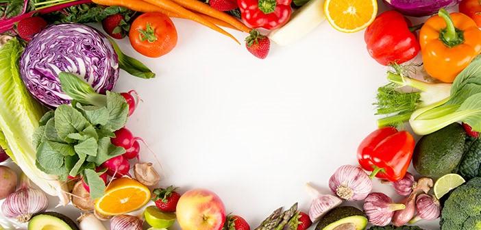 Fresh Fruit and Vegetable Heart Border