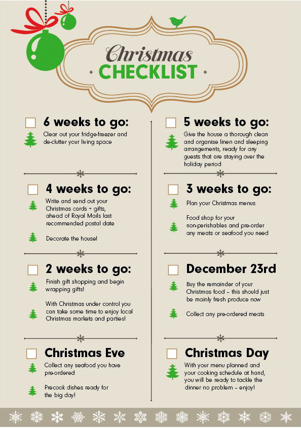 six week christmas checklist download print