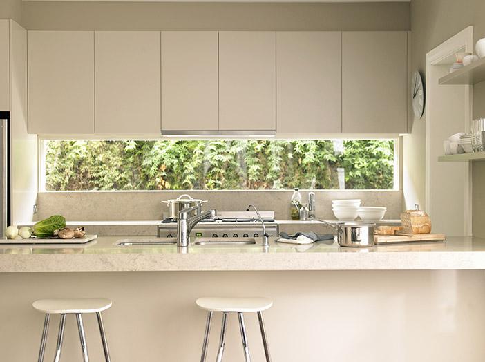 Handleless Modern Cream Gloss Kitchen
