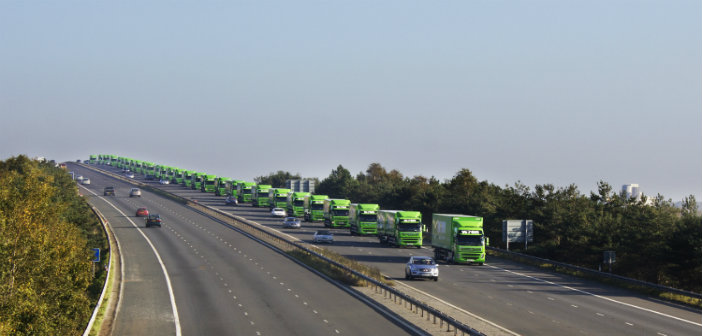Fleet of Wren Kitchen Lorries On The M62 Bridge Howden