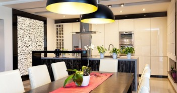 Modern Kitchen White Cabinets Pendant Lighting