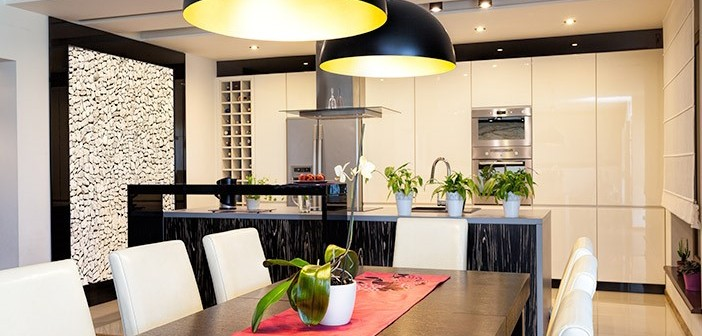 Modern Kitchen White Cabinets Pendant Lighting