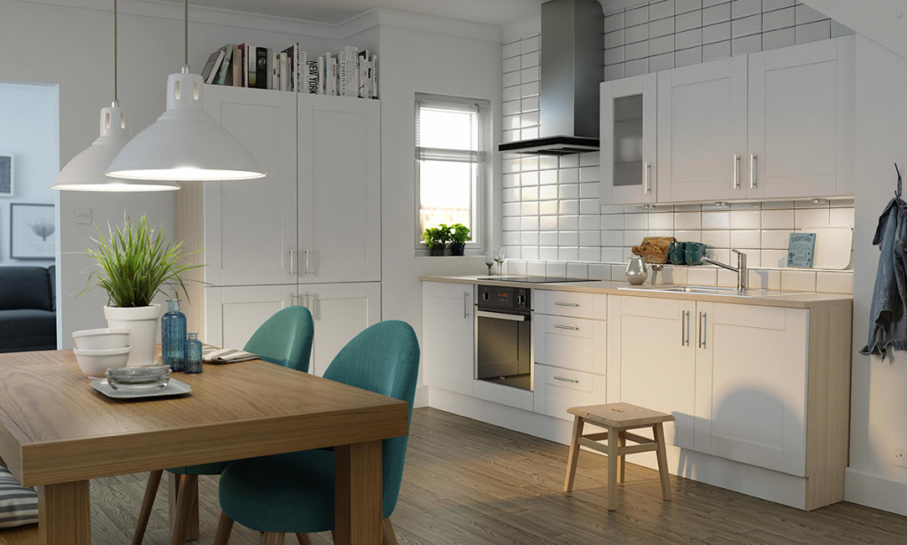 White Modern Shaker Kitchen Diner