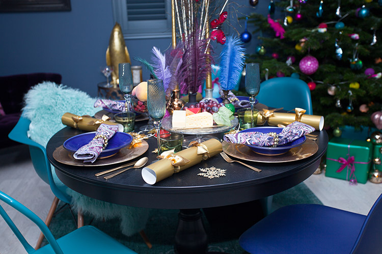 Electric Blue Quirky Christmas Dinner Table