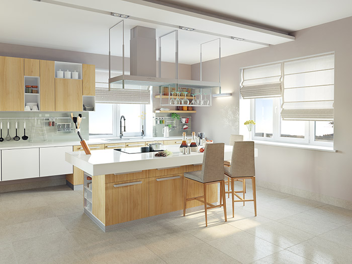 Cntempoary Kitchen With Plain Floor and Wood Cabinets