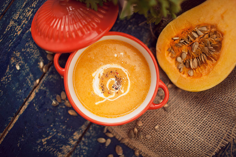 Roast Butternut Squash Soup Styled with Fresh Squash