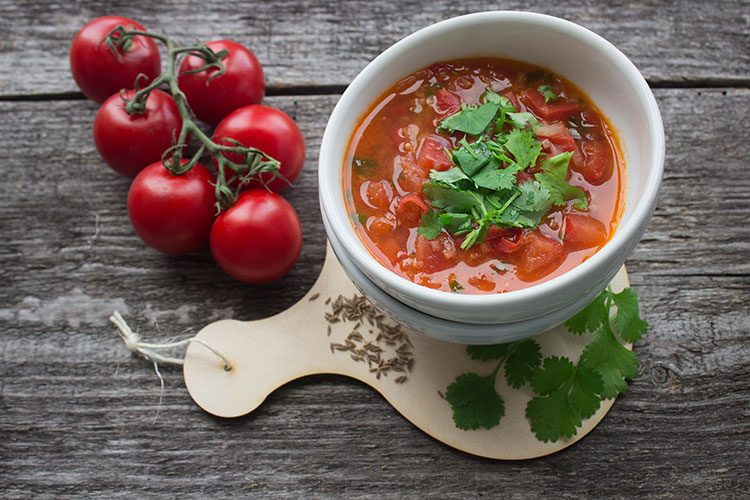 Tomato and Aubergine Soup Styled with Fresh Tomatoes