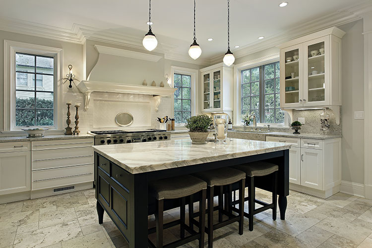 Contemporary Kitchen With Island And Pendant Lights