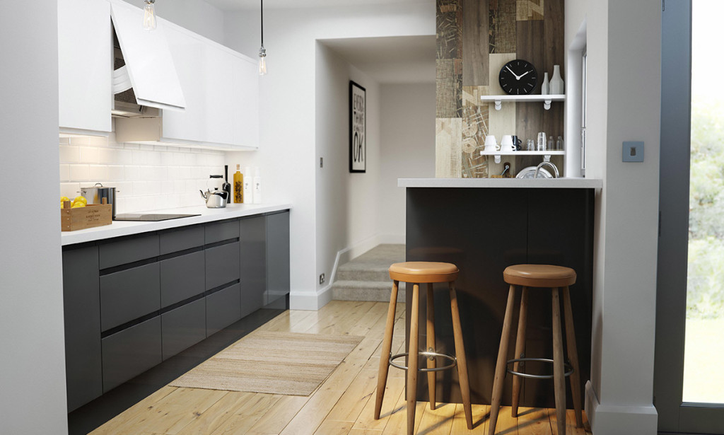Contemporary Handleless Kitchen in White and Black