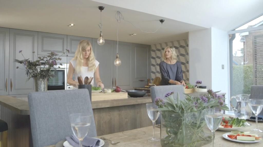 Linda Barker and Daughter Cooking Dinner In Wren Kitchen