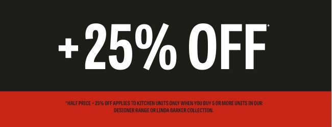 25% Off Kitchens Logo Black And Red