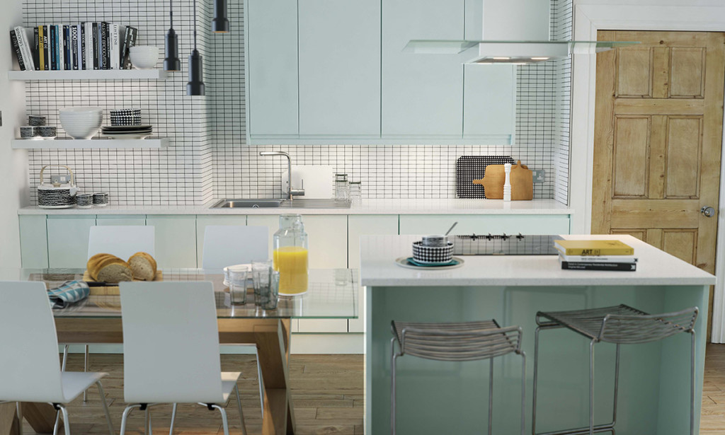 Modern Pale Blue kitchen With Island and Dining Table