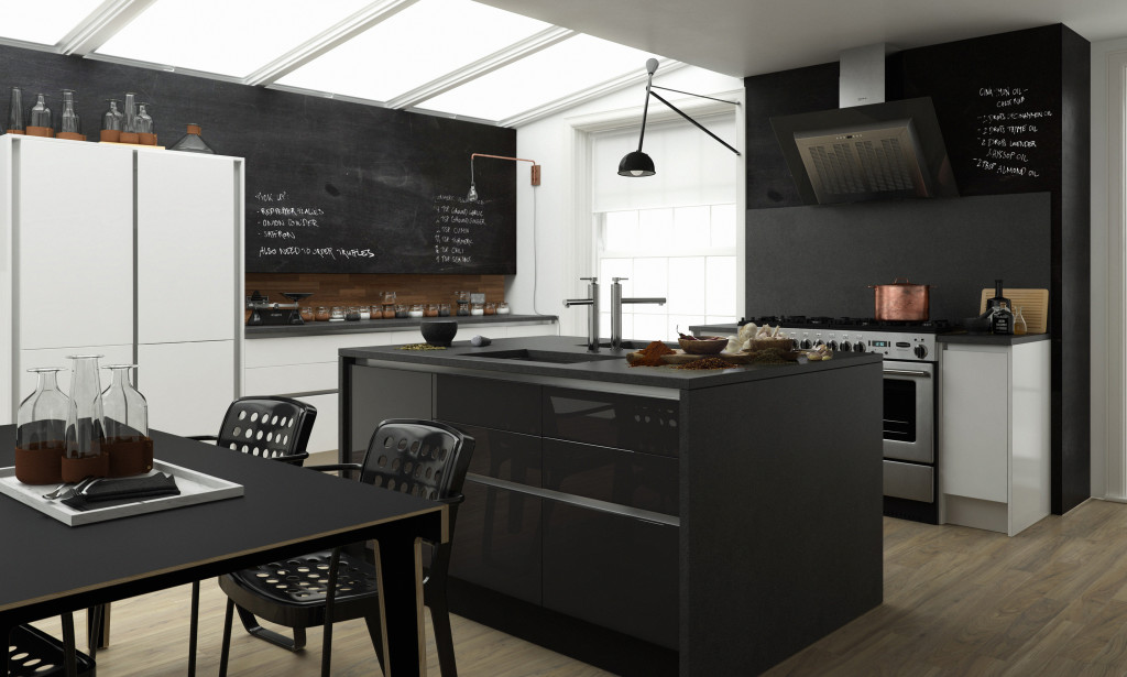 Monochrome Handleless Kitchen In Black And White