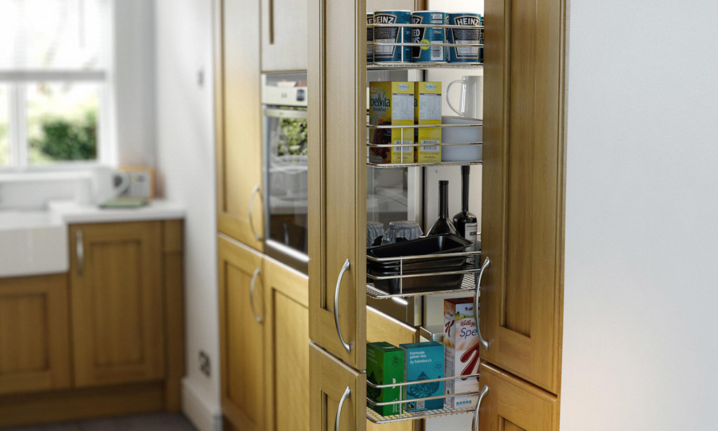 Open Larder Storage Cabinet In Kitchen