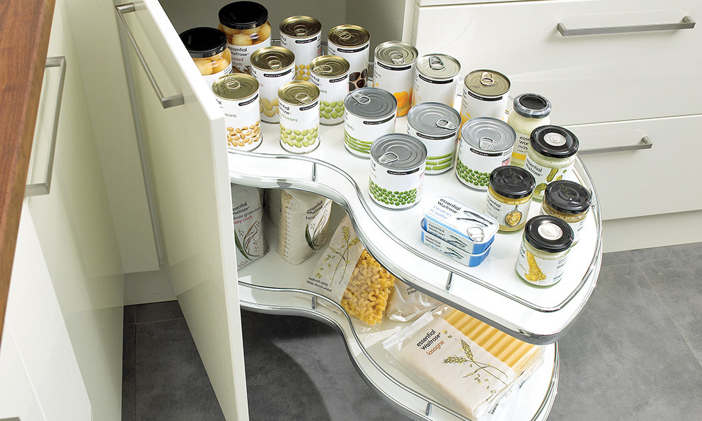 Corner Kitchen Storage Unit With Canned Food