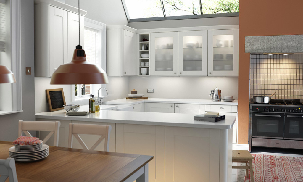 Contemporary Kitchen with White Cabinets and Copper Accessories
