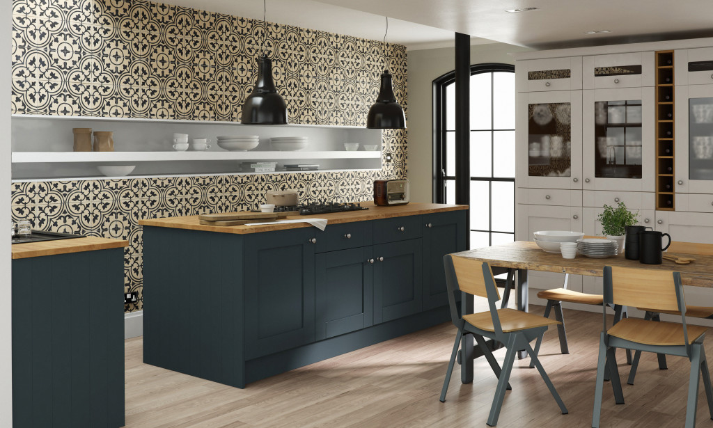 Contemporary Kitchen with Island And Open Shelving