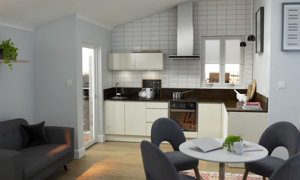 L-Shaped Kitchen With Ding Table And Chairs
