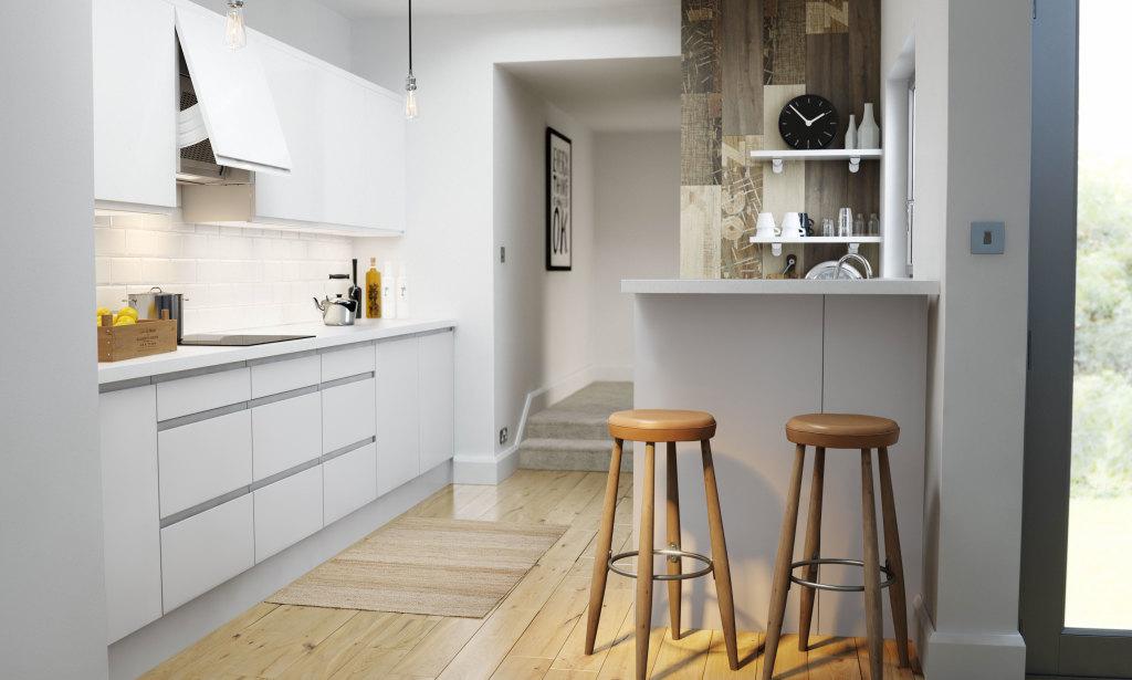 Handleless Kitchen in White Minimal Scandinavian Style