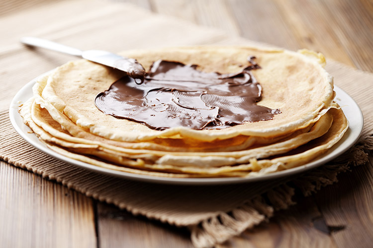 Delicious Pancakes With Chocolate Spread
