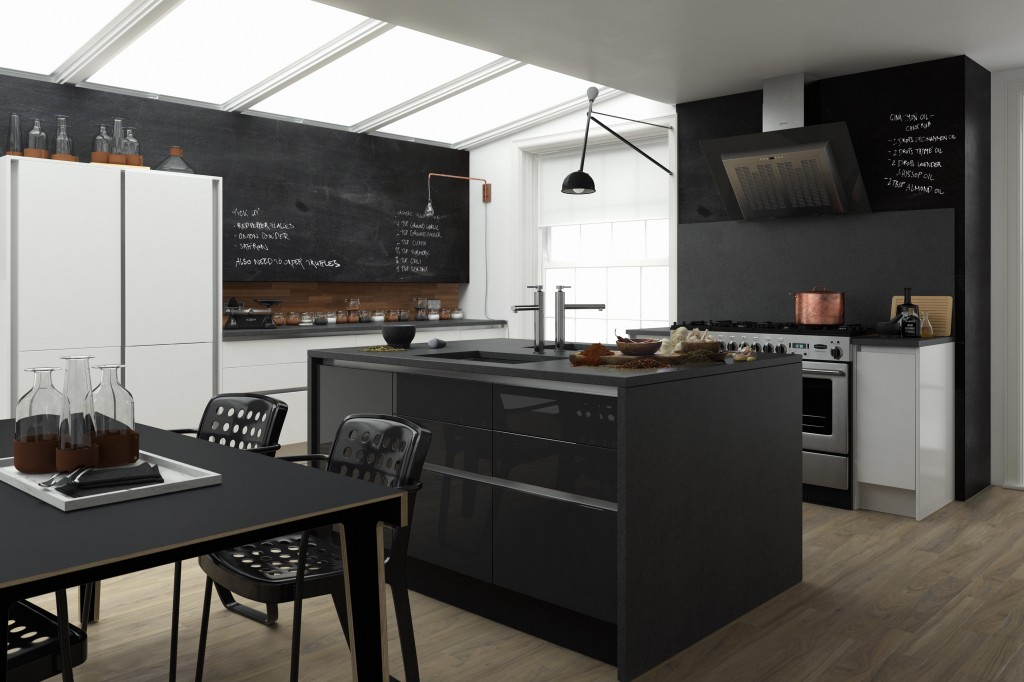 Contemporary Handleless White And Black Linda Barker Kitchen