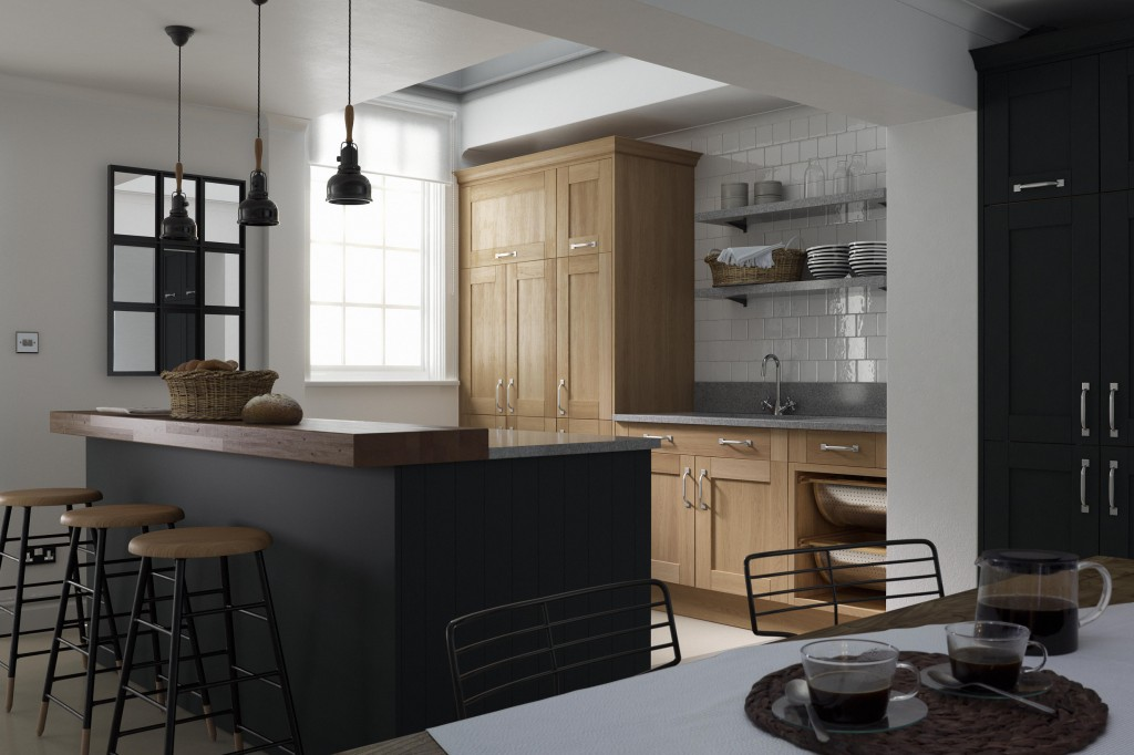 Contemporary Black and Grey Linda Barker Shaker Kitchen