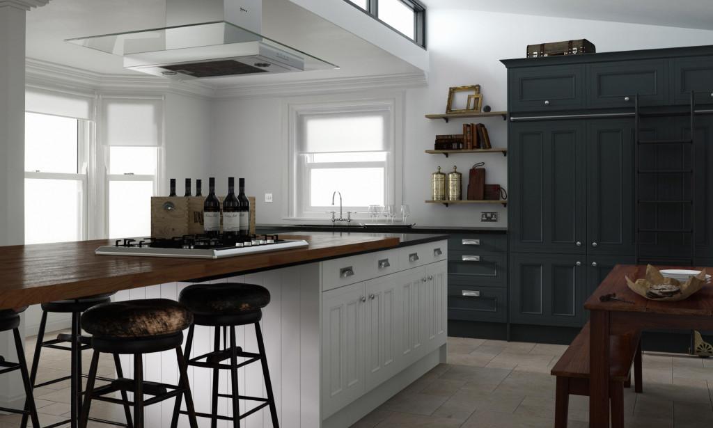 Traditional Matt Black and White Kitchen