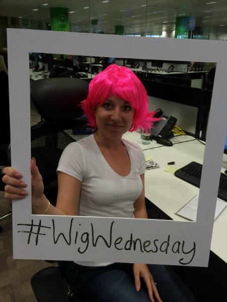 Wearing Pink Wigs for CLIC Sargent at Wren Kitchens