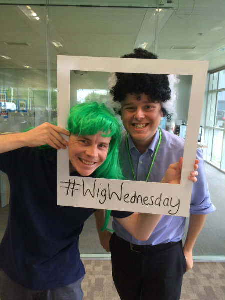 Eddy and Tom Wear Wigs Supporting CLIC Sargent