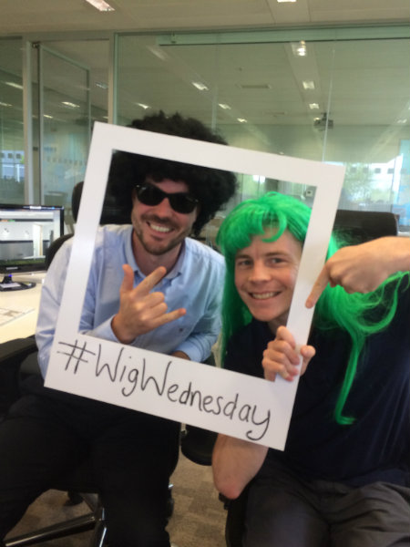 Rich and Eddy Supporting Wig Wednesday at Wren
