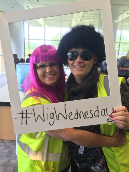Sue and Sam Enjoying Wig Wednesday at Wren