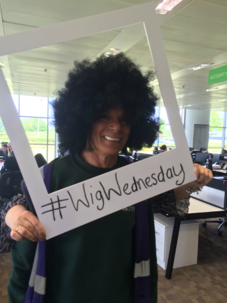 Afro Wig to Support CLIC Sargent at Wren Kitchens