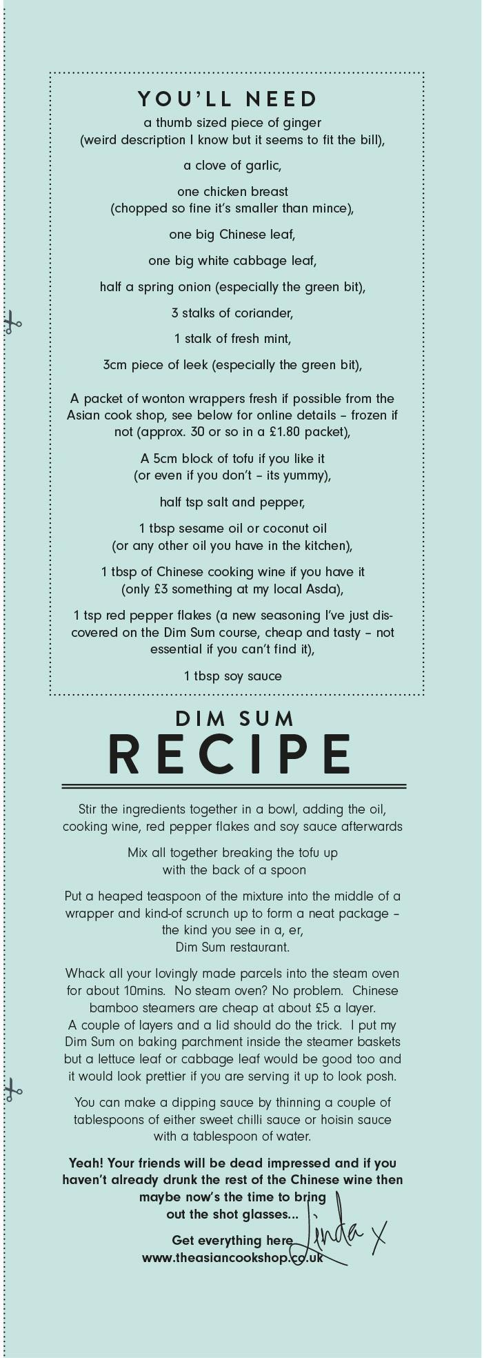 Linda Barker Dim Sum Ingredients Recipe