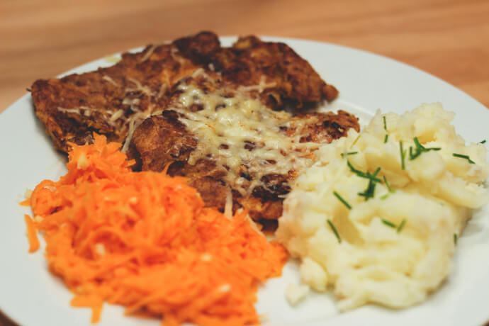 Lithuanian Chicken with mash and carrot slaw